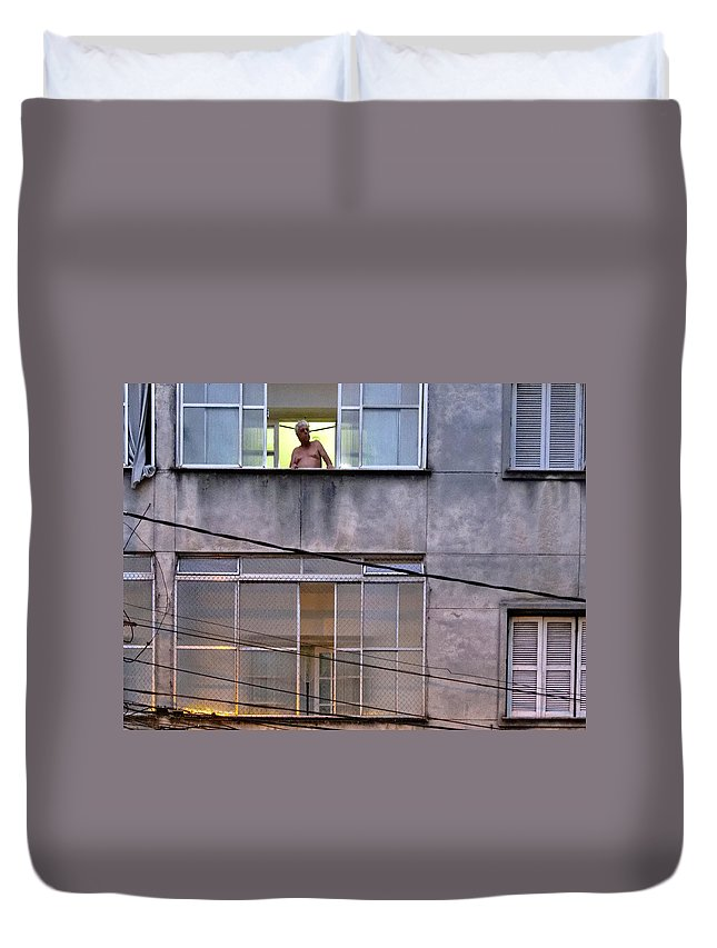 Man Duvet Cover featuring the photograph Man In The Window by Julie Niemela