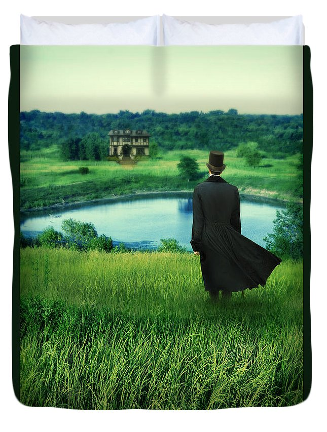 Young Duvet Cover featuring the photograph Man In Top Hat On A Hill by Jill Battaglia