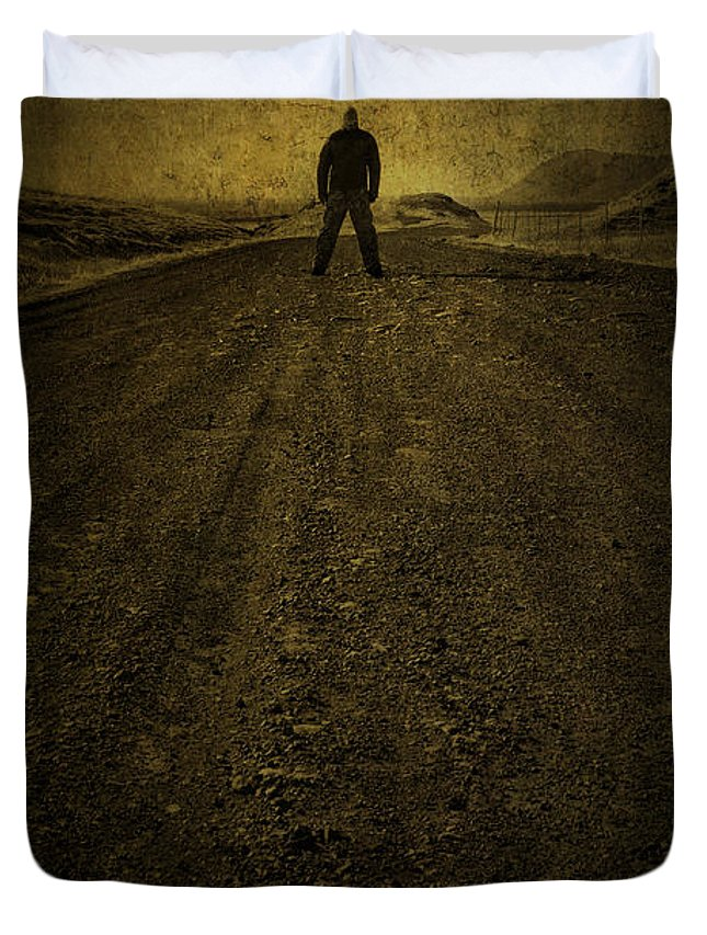 Man Duvet Cover featuring the photograph Man On A Mission by Evelina Kremsdorf