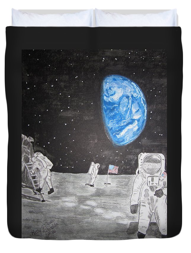 Stars Duvet Cover featuring the painting Man On The Moon by Kathy Marrs Chandler