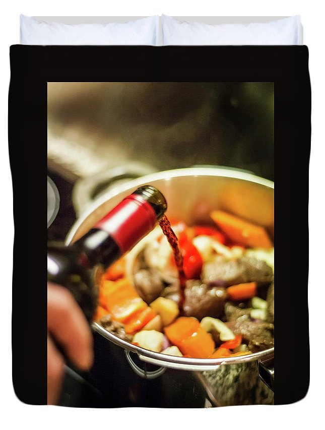 Mature Adult Duvet Cover featuring the photograph Man Pouring Wine Into Vegetables by Manuel Sulzer