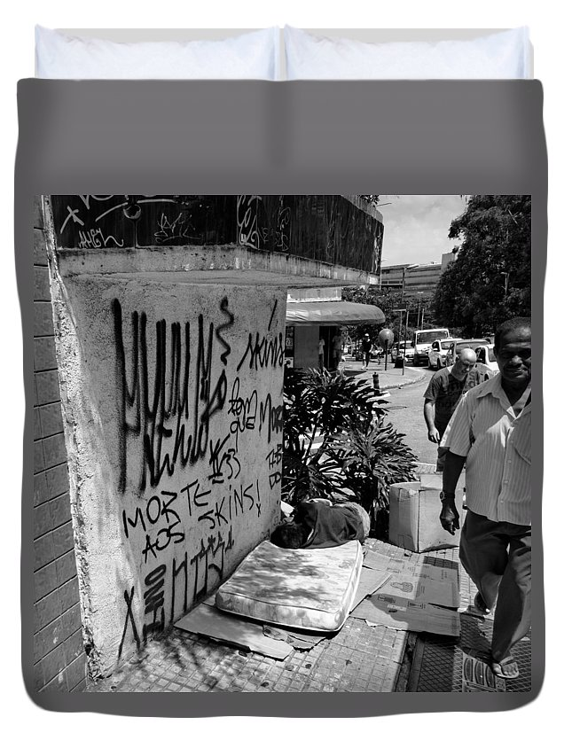 Homeless Duvet Cover featuring the photograph Man Sleeping In Sao Paulo by Julie Niemela