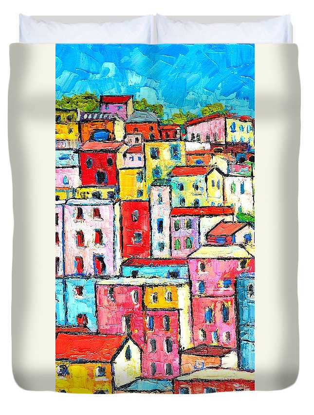 Manarola Duvet Cover featuring the painting Manarola Colorful Houses Painting Detail by Ana Maria Edulescu