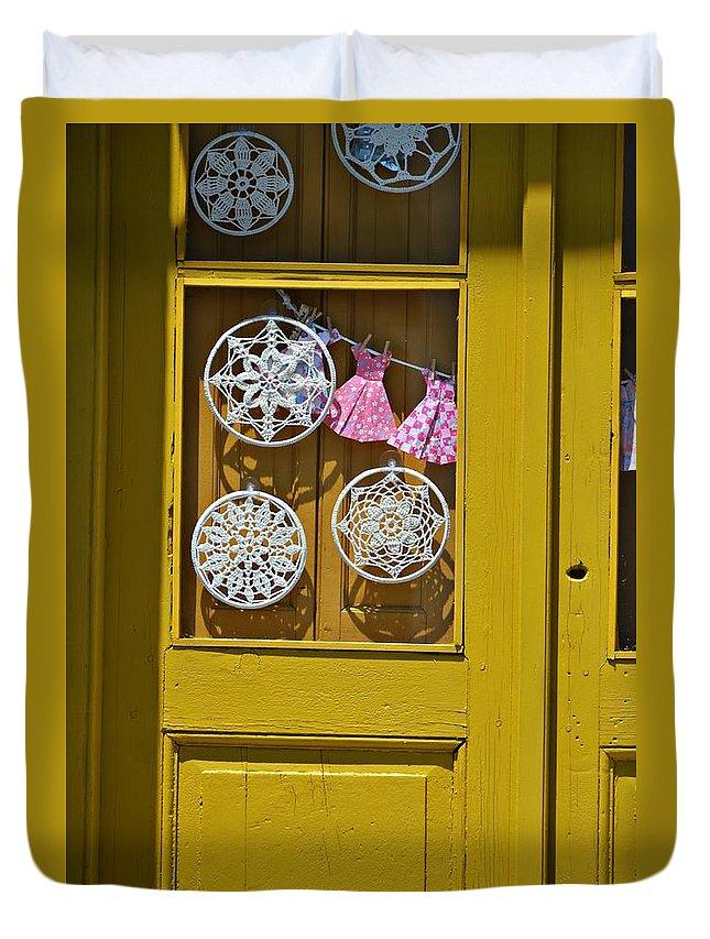 Duvet Cover featuring the photograph Mandalas Door by Sabrina Vera