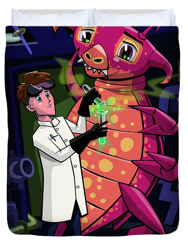 Professor Duvet Cover featuring the digital art Manga Professor With Nice Pink Monster Experiment by Martin Davey