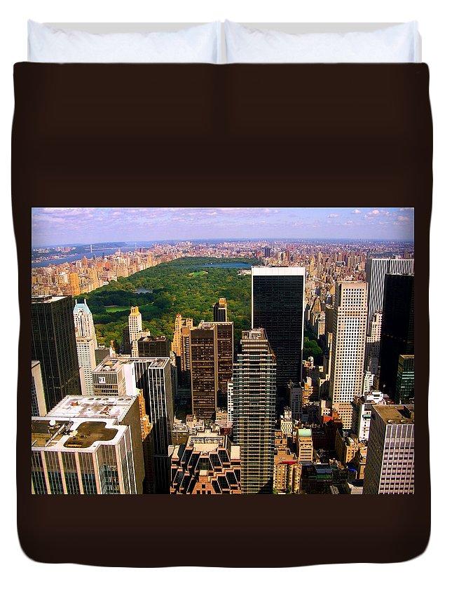 Manhattan Prints Duvet Cover featuring the photograph Manhattan And Central Park by Monique's Fine Art