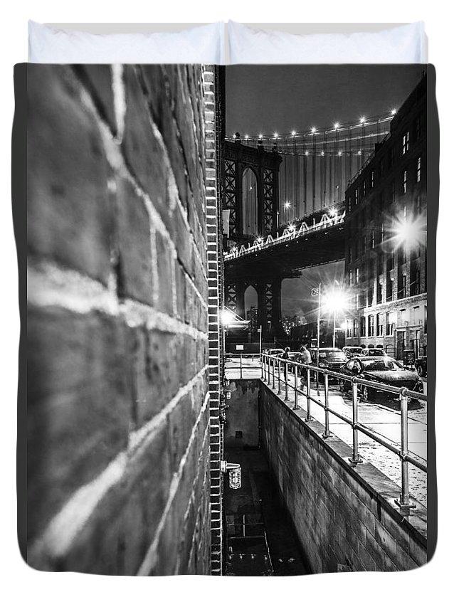 Manhattan Duvet Cover featuring the photograph Manhattan Bridge by Alex Potemkin