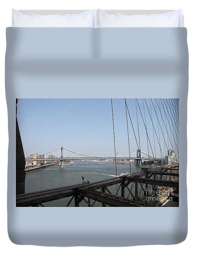Manhattan Bridge Duvet Cover featuring the photograph Manhattan Bridge by Christiane Schulze Art And Photography