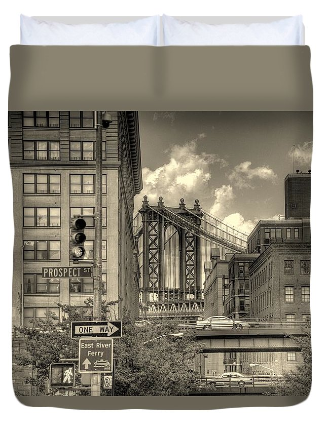 New York Duvet Cover featuring the photograph Manhattan Bridge Peeking Through by Jeff Watts