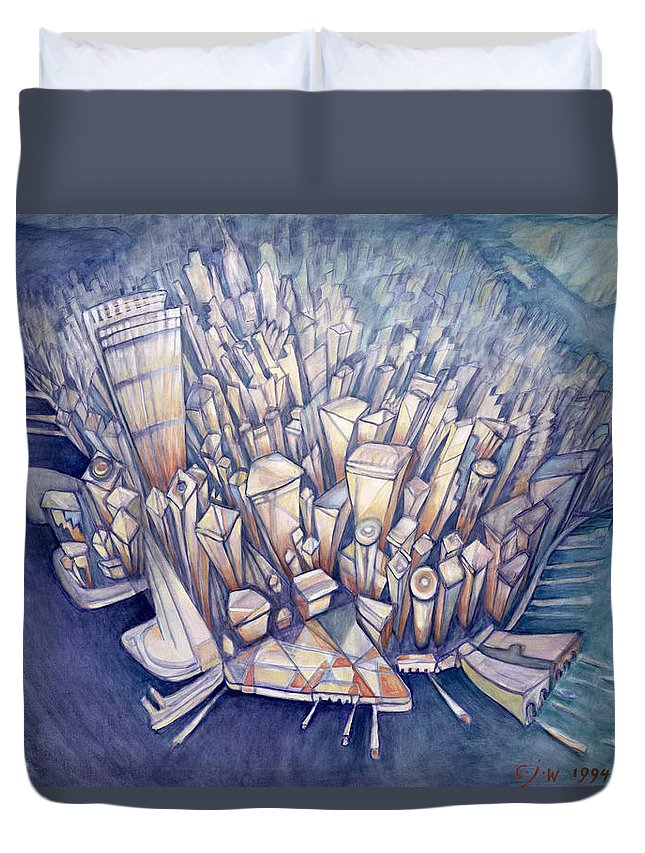 manhattan from above 1994 oil on canvas duvet cover for sale by