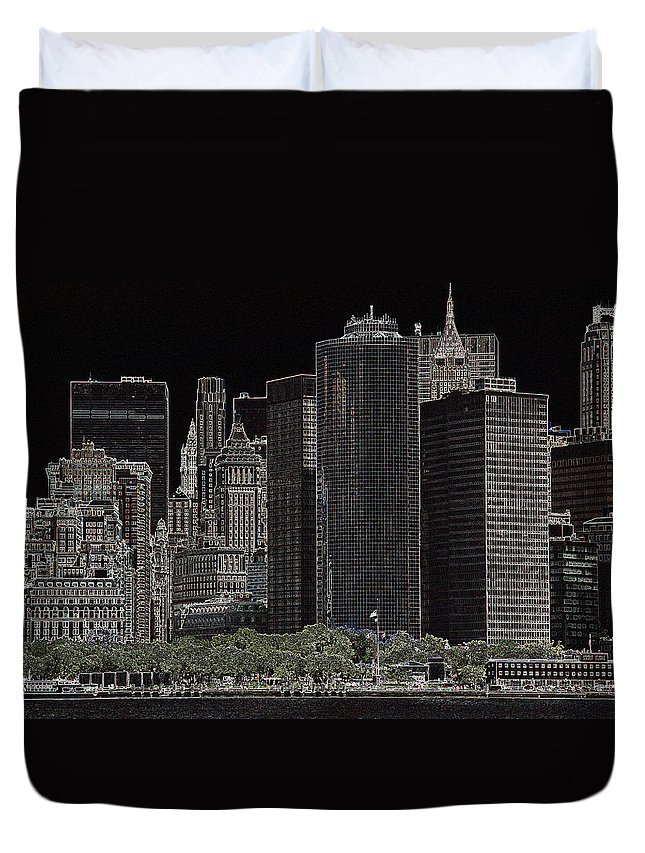 New York Duvet Cover featuring the photograph Manhattan Skyline Abstract by Christiane Schulze Art And Photography