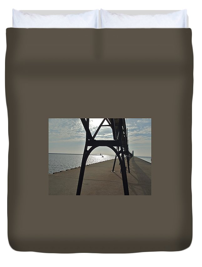 Breakwaters Duvet Cover featuring the photograph Manistee Breakwaters by Susan Wyman