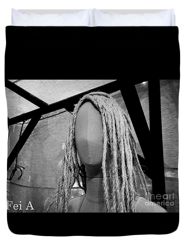 Black And White Duvet Cover featuring the photograph Mannequin Girl Horizontal by Fei A