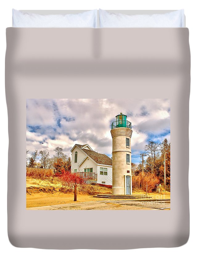 Lighthouse Duvet Cover featuring the photograph Manning Light by Nick Zelinsky