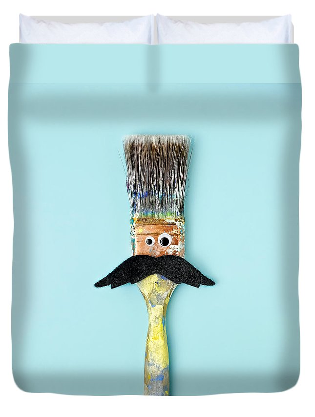 Work Tool Duvet Cover featuring the photograph Mans Face Crafted Onto Paintbrush by Juj Winn