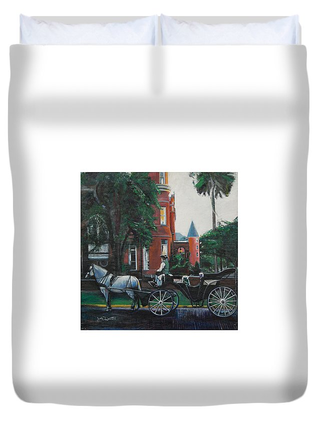 Duvet Cover featuring the painting Mansion On Forsythe Savannah Georgia by Jude Darrien