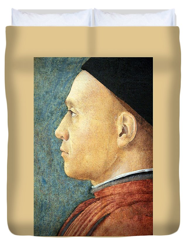 Portrait Of A Man Duvet Cover featuring the photograph Mantegna's Portrait Of A Man by Cora Wandel