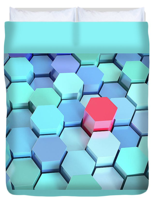 Grid Duvet Cover featuring the photograph Many Blue Hexagons, Various Heights by Dimitri Otis