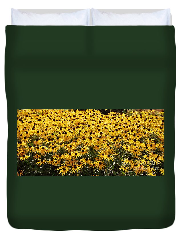 Yellow Flowers Duvet Cover featuring the photograph Many Yellow Blooms by Eunice Miller