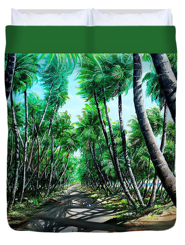 Coconut Trees Duvet Cover featuring the painting Manzanilla Coconut Estate by Karin Dawn Kelshall- Best