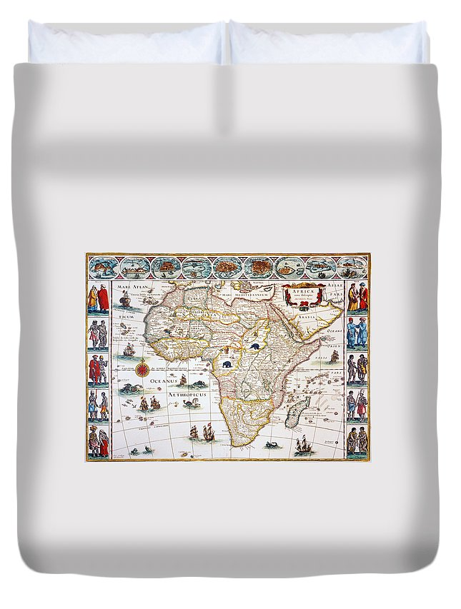 1630 Duvet Cover featuring the painting Map Of Africa, 1630 by Granger