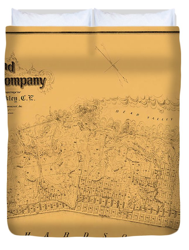 Map Of Sausalito Duvet Cover featuring the photograph Map Of Sausalito 1868 by Andrew Fare