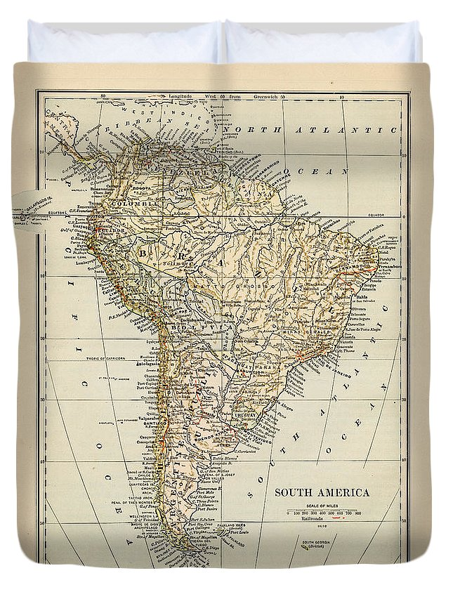 Burnt Duvet Cover featuring the photograph Map Of South America 1875 by Thepalmer