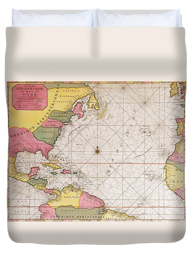 Map Of The Atlantic Ocean Showing The East Coast Of North America The  Caribbean And Central America Duvet Cover