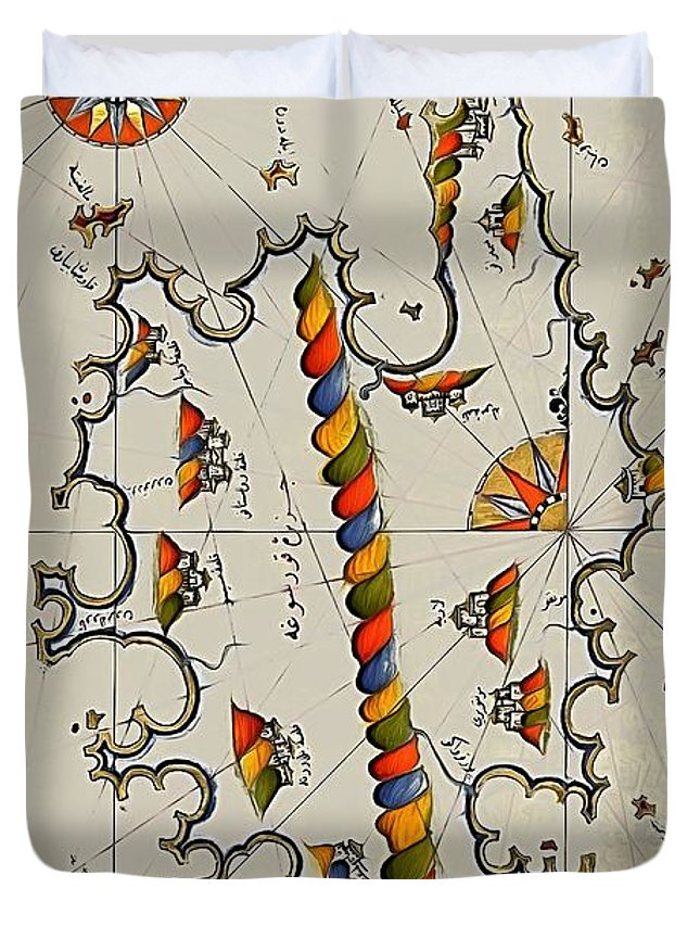 Medieval Map Duvet Cover featuring the digital art Map Of The Island Corsica by Dragica Micki Fortuna