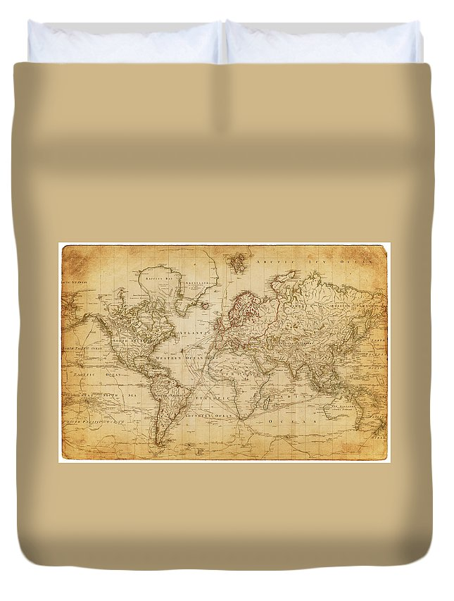 Globe Duvet Cover featuring the digital art Map Of The World 1800 by Thepalmer