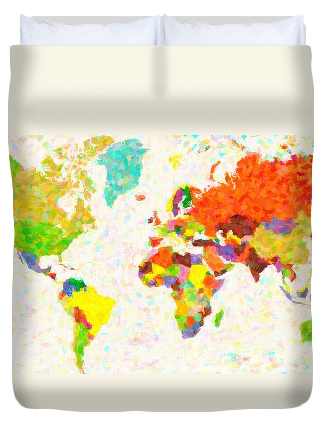 Maps Pointilism World Map Duvet Cover featuring the painting maps pointilism World Map with leaves by MotionAge Designs