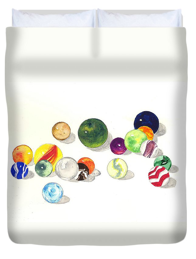 Marbles Duvet Cover featuring the painting Marbles by Michael Vigliotti