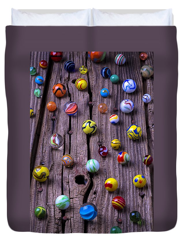Marbles Duvet Cover featuring the photograph Marbles On Wood by Garry Gay