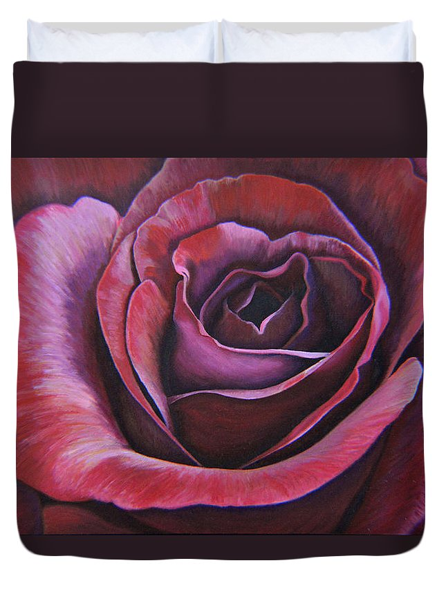 Rose Duvet Cover featuring the painting March Rose by Thu Nguyen