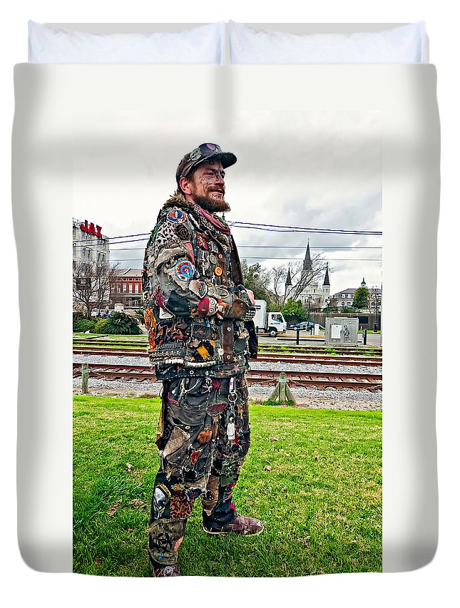 French Quarter Duvet Cover featuring the photograph Marching To His Own Drummer 2 by Steve Harrington