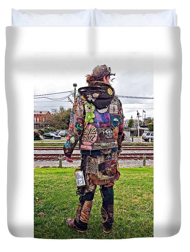 French Quarter Duvet Cover featuring the photograph Marching To His Own Drummer 3 by Steve Harrington