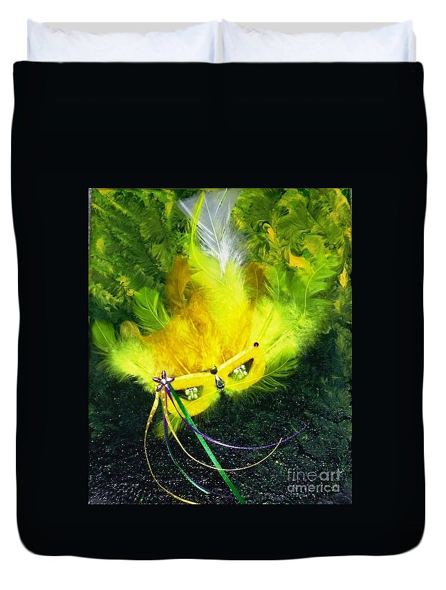 Mixed Media Duvet Cover featuring the painting Mardi Gras On Green by Alys Caviness-Gober