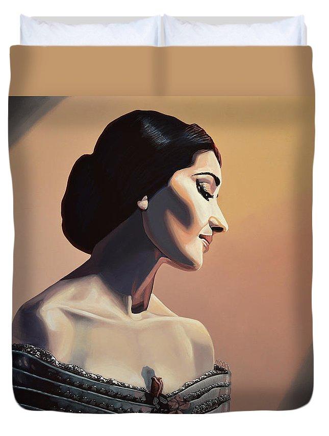 Maria Callas Duvet Cover featuring the painting Maria Callas Painting by Paul Meijering