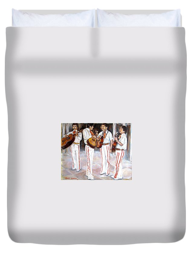 Mariachis Duvet Cover featuring the painting Mariachi Musicians by Carole Spandau