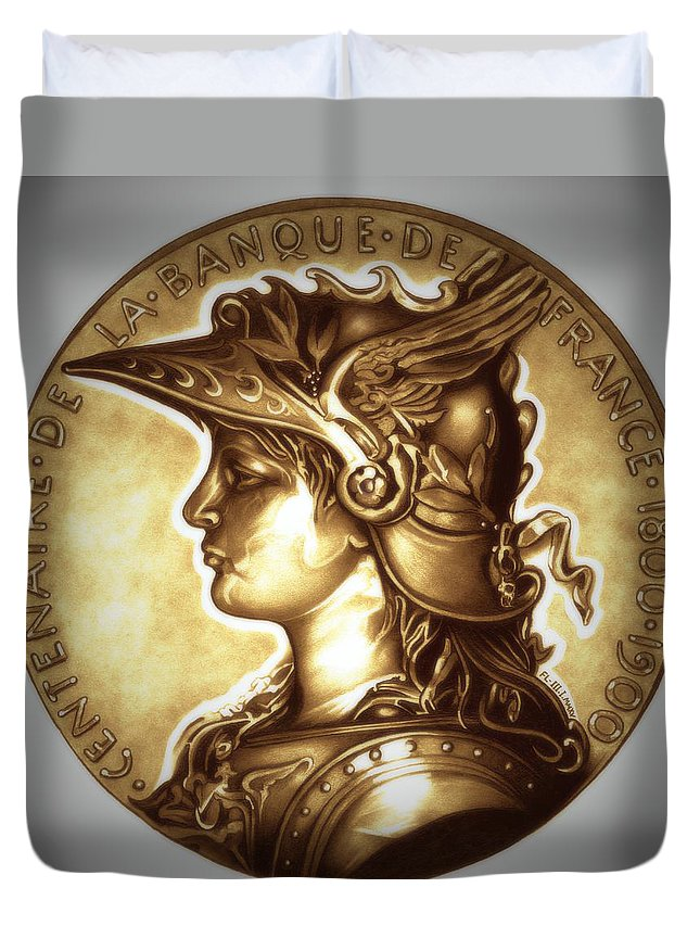 Coin Duvet Cover featuring the drawing Limited Edition Marianne Gold by Fred Larucci