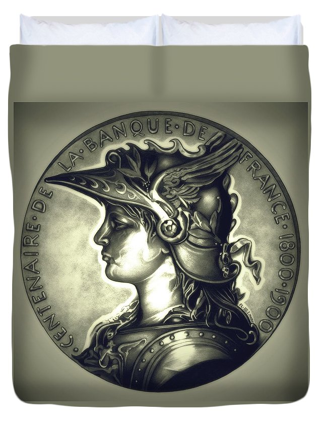 Coin Duvet Cover featuring the drawing Limited Edition Marianne Misty Night by Fred Larucci