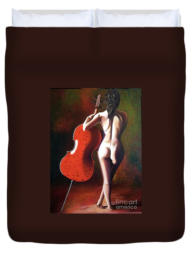 Nude Duvet Cover featuring the painting Marie by Jose Manuel Abraham