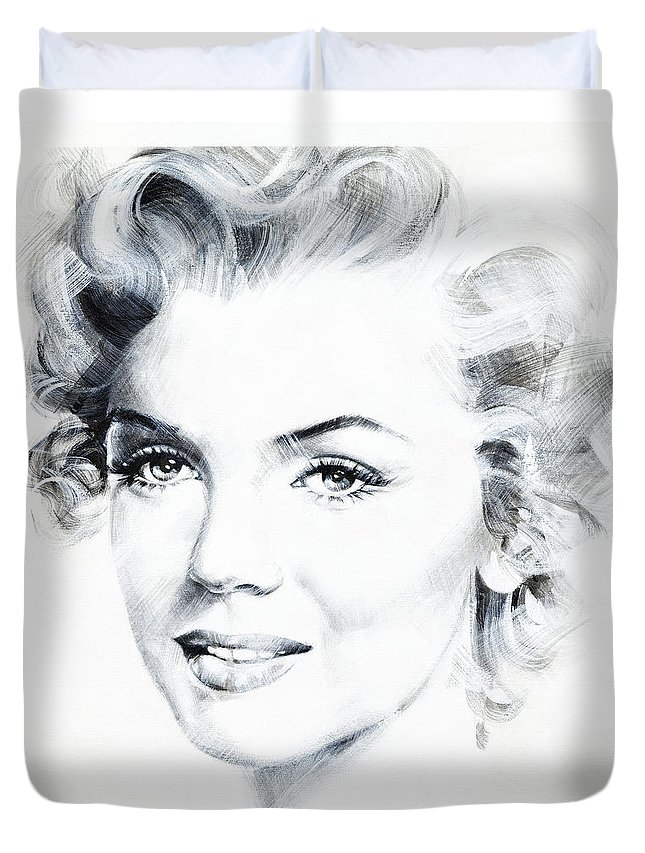 Marilyn Duvet Cover featuring the painting Marilyn 4 by Jean Pierre Rousselet