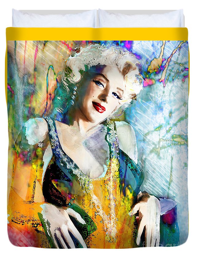 Marilyn Monroe Duvet Cover featuring the painting Marilyn Monroe 126 E by Theo Danella