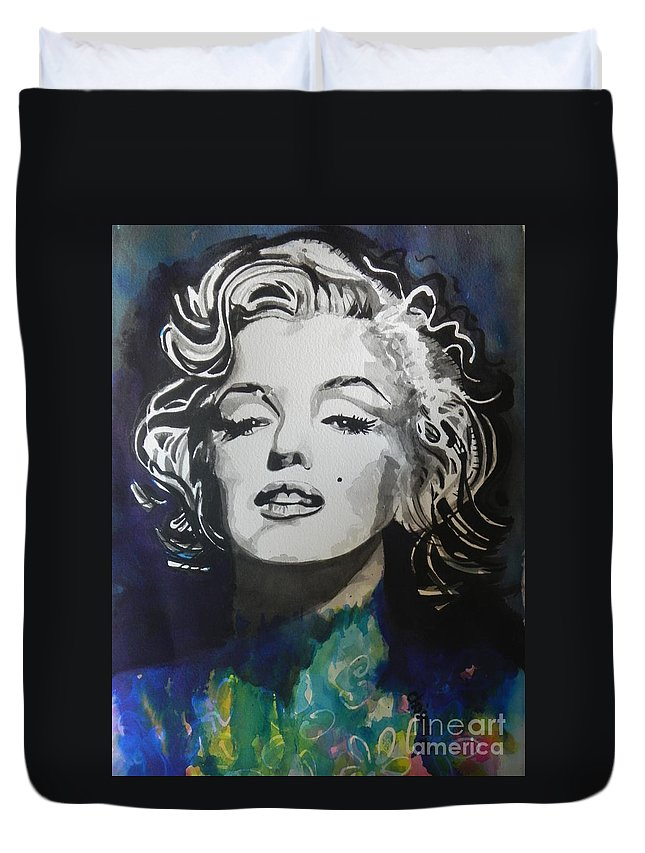 Watercolor Painting Duvet Cover featuring the painting Marilyn Monroe..2 by Chrisann Ellis