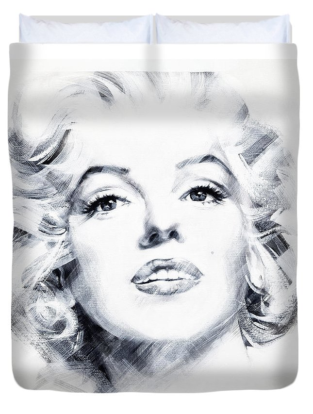 Marilyn Duvet Cover featuring the painting Marilyn 2 by Jean Pierre Rousselet