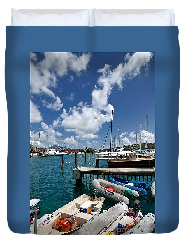 Boat Duvet Cover featuring the photograph Marina St Thomas Virgin Islands by Amy Cicconi