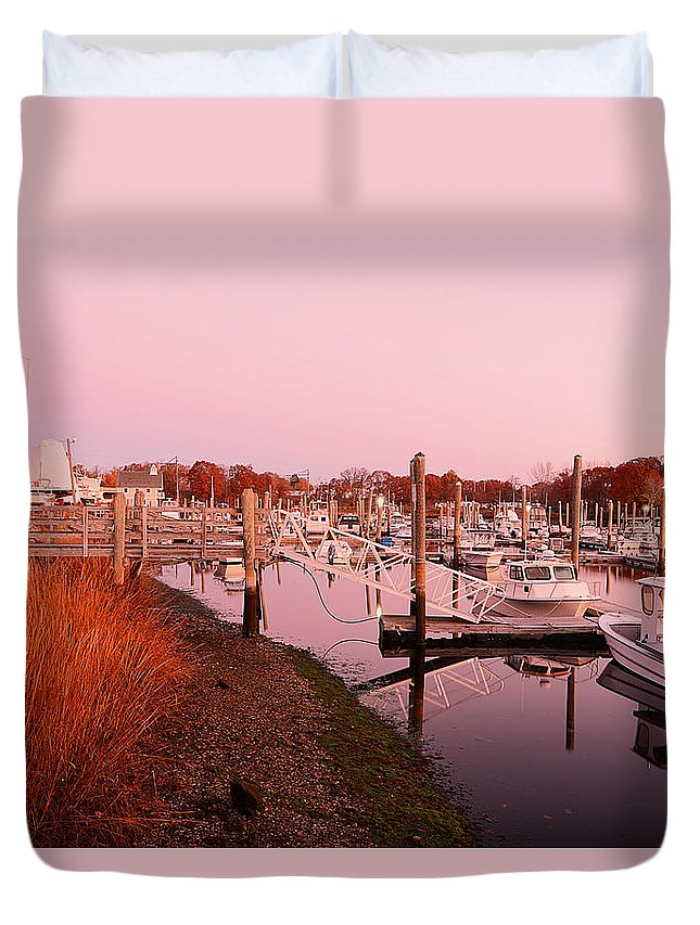 Warwick Duvet Cover featuring the photograph Marina Sunrise by Lourry Legarde
