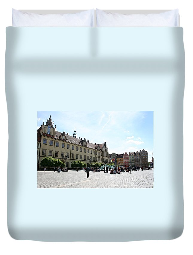 Market Place Duvet Cover featuring the photograph Market Place Wroclaw by Christiane Schulze Art And Photography