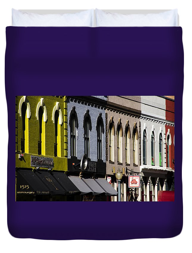 Facade Duvet Cover featuring the photograph Market Street Denver by For Ninety One Days